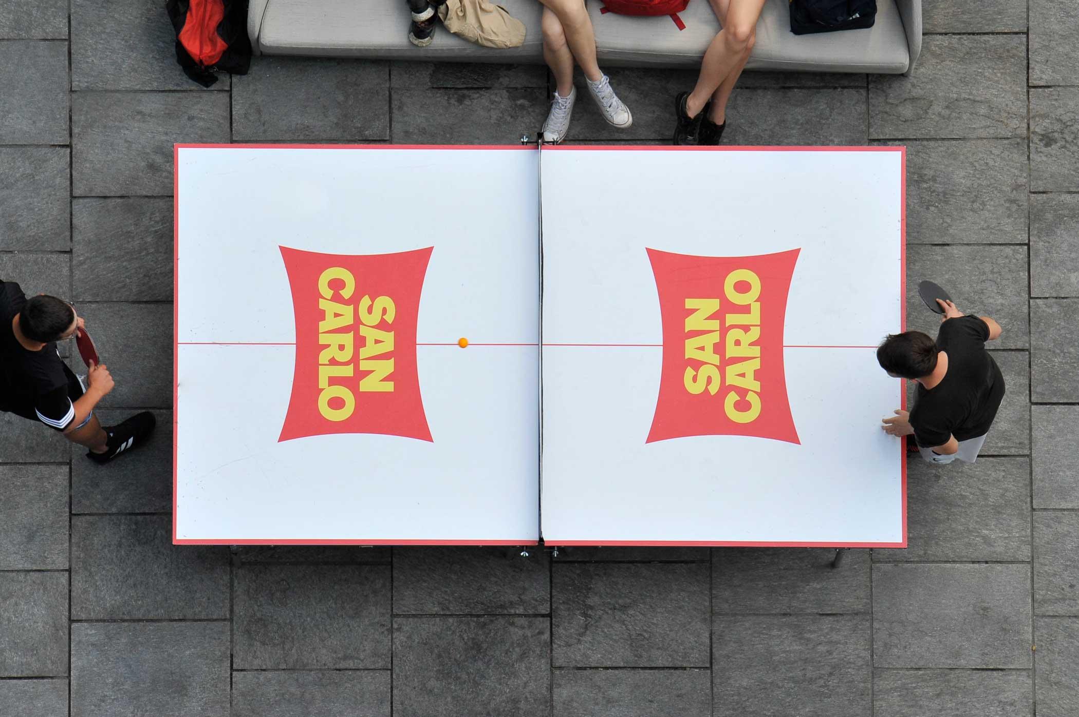 San Carlo e Mi Games - tavolo da ping pong brandizzato